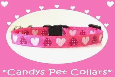 ❀ Handmade ❀ Hot Pink with Red & White Hearts Cat-Kitten Collar 9""