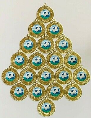20x FOOTBALL GOLD METAL MEDALS, FREE RIBBONS, FREE P&P
