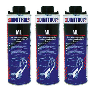 3 x DINITROL ML3125 RUST PROOFING CAVITY WAX 1LITRE CAN BOX SECTION DOOR CHASSIS