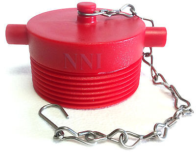 "2-1/2"" NST Male Fire Hose Hydrant Adapter Plug with Chain- Red Poly Plastic"