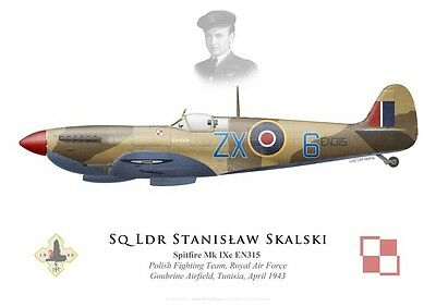 Print Spitfire Mk IXc, S/L Stanislaw Skalski, Polish Fighting Team (by G. Marie)