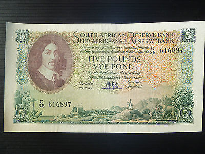 South Africa Lot P-96c 1955 5 Pounds XF Add Collection
