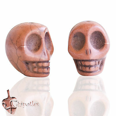 3 PERLE TESCHIO MARRONE CHIARO 3D 18x14 syntet. howlite light brown skull beads