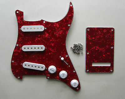 Red Pearl Strat Pickguard,Trem Cover with White Pickup Covers,Knobs,Switch Tip!