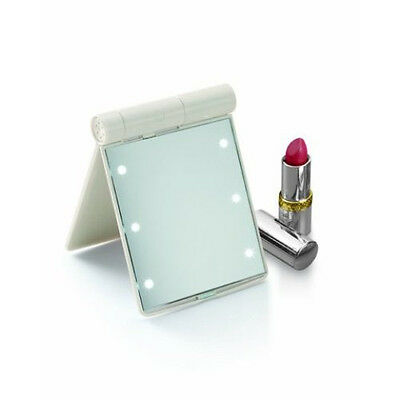 """Makeup Mirror w/ Dressing Room Style Lights: Small 4.5"""" x 3.5"""" for Travel"""