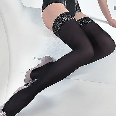 "Black Thick Opaque Matte Hold ups Stay ups Stockings ""Ester"" 60 Denier"