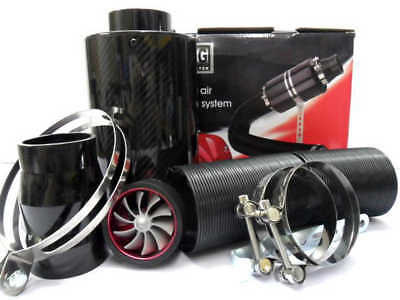 "Real Carbon Fiber Cold Air Intake System 3"" Inlet Filter Box Induction Universal"
