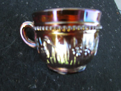 Stork and Rushes Punch Cup! Purple Carnival Glass!