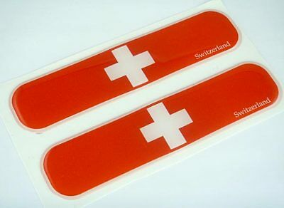 "Switzerland Swiss Flag Domed Decal Emblem Car Flexible Sticker 5"" Set of 2"