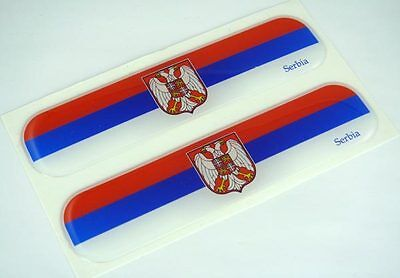"Serbia, Serbian Flag Domed Decal Emblem Car Flexible Sticker 5"" Set of 2"
