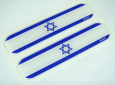 "Israel, Israeli Flag Domed Decal Emblem Car Flexible Sticker 5"" Set of 2"