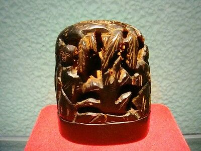 """Exquisite Suburb Hollowed Out Carved Oxhorn Made Seal Ornament 2 1/3"""""""