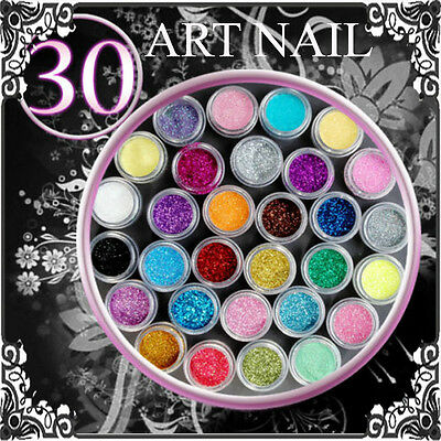Liv 48h 30 pots Paillettes Fines Glitter Nail Art Gel Uv Décoration Manucure