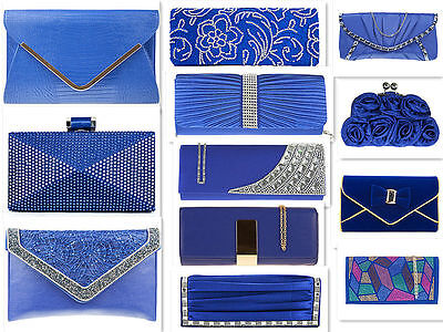 Royal Blue Suede Patent Pu Faux Glitter Bridal Evening Wedding  Clutch Handbag