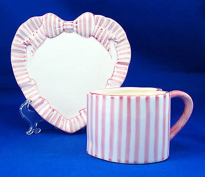 Haldon PINK STRIPE Heart Shaped Flat Cup and Saucer Set 2.5 in. Ribbon Sculpted