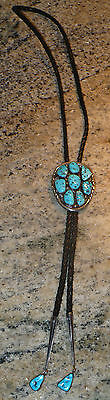 Native American Bolo Tie Ties Turquoise & Sterling & Black Leather Many Stones!