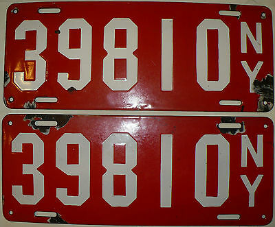 Antique Rare Matched Pair 1912 New York State Porcelain License Plates #39810