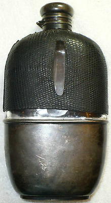 Antique Sterling Silver & Glass Medicine Whiskey Flask