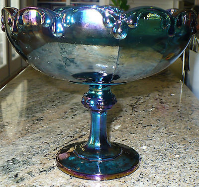 Indiana Glass Tear Drop Carnival Glass Irridescent Tall Compote