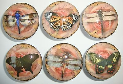 6 Handmade Vintage Butterfly and Dragonfly Dresser Drawer Knobs Pink n Brown