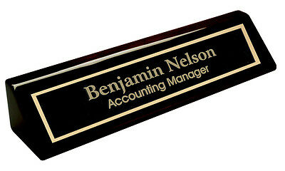 Personalized Black Piano Finish NAME PLATE BAR w/ gold trim office desk
