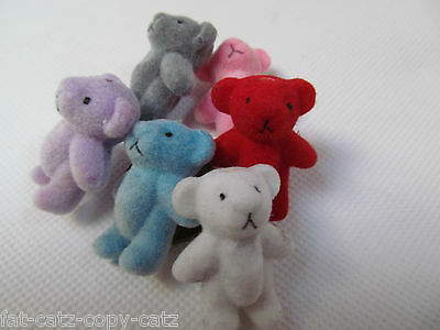 "3, 10 OR 25 x SMALL TINY MINIATURE DOLL HOUSE CRAFT 1/12th TEDDY BEARS 1.4"" TALL"
