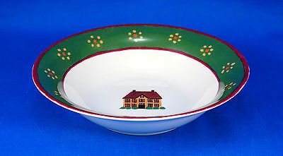 Block / Gear COUNTRY VILLAGE Coupe Cereal Bowl 7.25 in. House Red Green Yellow