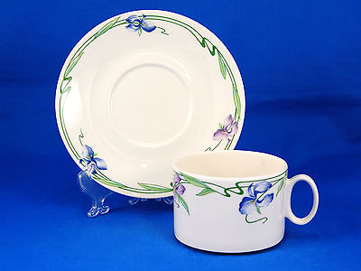 Villeroy and Boch VERONA Flat Cup and Saucer Set 2.25 in. Blue Purple Irises