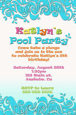 Pool Party Birthday invitation swimming water favor beach