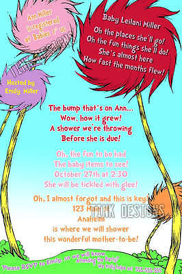Custom invitations Cat baby shower dr. seuss favor  in the Hat