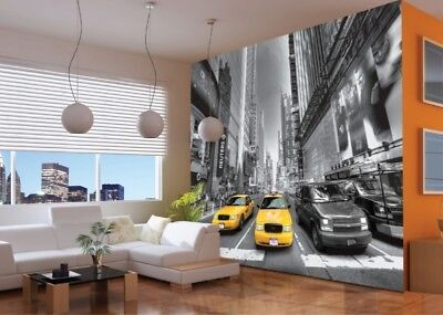 PHOTO WALLPAPER WALL MURAL GIANT ART DECOR DESIGN Yellow Cabs URBAN CITY