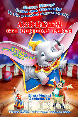 Dumbo birthday party invitations favor circus elephant carnival