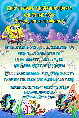 Spongebob invitations birthday party favor Square pants sponge bob