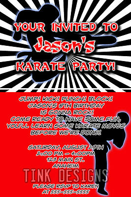 Karate birthday party invitations favor martial arts