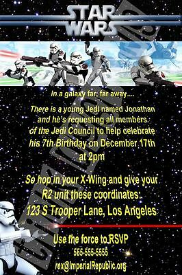 Star Wars invitation birthday party favor Clone Trooper Storm