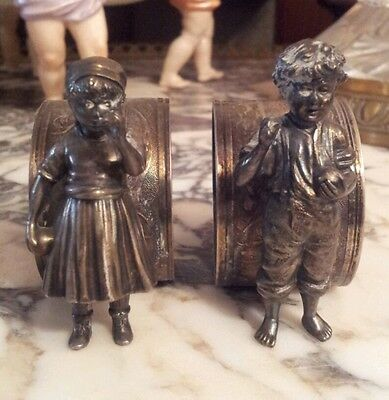 Pair Of Napkin ring Wmf Couple Girl And Child Silverplate for Collection c. 1900