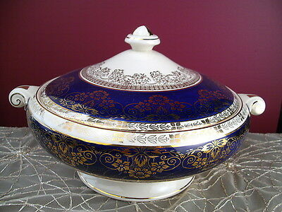 Crown Ducal Tureen Blue & Gold Filigree 6107