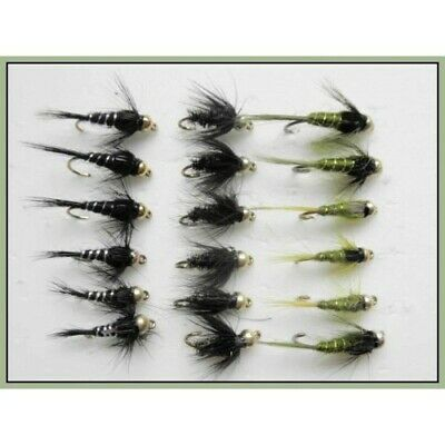 18 Gold head Nymph Trout Fishing Flies Olive and Blacks - Size 10/12, Sinkers