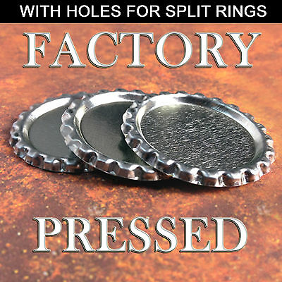 100 QTY - FLAT BOTTLE CAP WITH HOLE Factory Pressed Flattened Bottlecap Jewelry