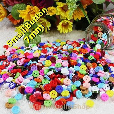 2 Holes 7mm Mixed Colors Plastic Buttons Sewing Cardmaking Scrapbooking Craft