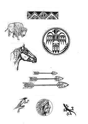 8 Southwestern UNMounted rubber stamps Horse Arrows Buffalo Indian +