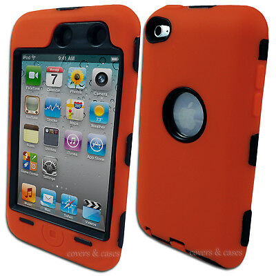 Orange Heavy Duty Cover Case for Apple iPod Touch 4 4th Gen Protective Tough