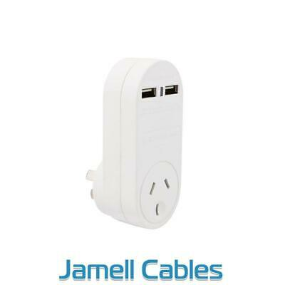 Cabac Single Power Outlet with 2 USB Ports