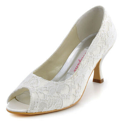EP11013 Women White/Ivory Peep Toe Pumps 2.5'' Lace Wedding Bridal Party Shoes