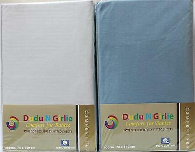 Premium Quality Cot Bed Fitted Sheet,100%Cotton-Size:70x140cm(2 Pack,White&Blue)