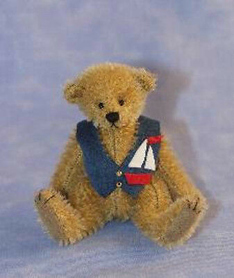 "Deb Canham ""harry"" Miniature Mohair Bear With Sailing Boat Motif Lim Ed  2012"