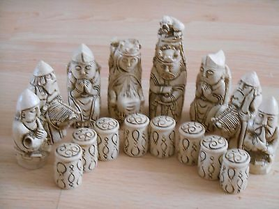 Medieval Fantasy Model Resin Chess Set in Teak & Ivory effect