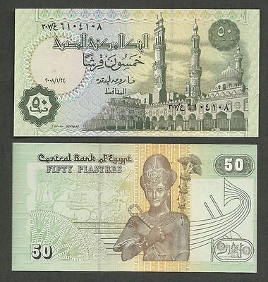 2006  Egypt 50 Piastres African World Paper Money Currency  UNCIRCULATED