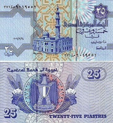 2006  Egypt  25 Piastres African World Paper Money Currency  UNCIRCULATED