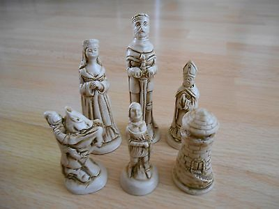 King Arthur Camelot Fantasy Model Resin Chess Set - Teak & Ivory effect